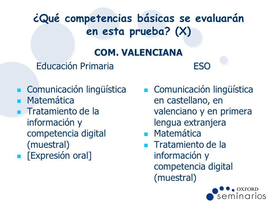 ¿Qué competencias básicas se evaluarán en esta prueba? (X) COM. VALENCIANA Educación Primaria Comunicación lingüística Matemática Tratamiento de la in