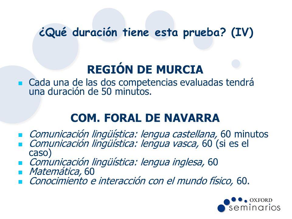 ¿Qué duración tiene esta prueba? (IV) REGIÓN DE MURCIA Cada una de las dos competencias evaluadas tendrá una duración de 50 minutos. COM. FORAL DE NAV