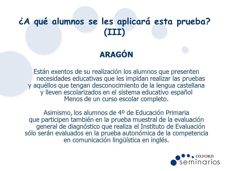 ¿A qué alumnos se les aplicará esta prueba? (III) ARAGÓN Están exentos de su realización los alumnos que presenten necesidades educativas que les impi