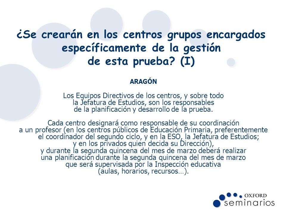 ¿Se crearán en los centros grupos encargados específicamente de la gestión de esta prueba? (I) ARAGÓN Los Equipos Directivos de los centros, y sobre t