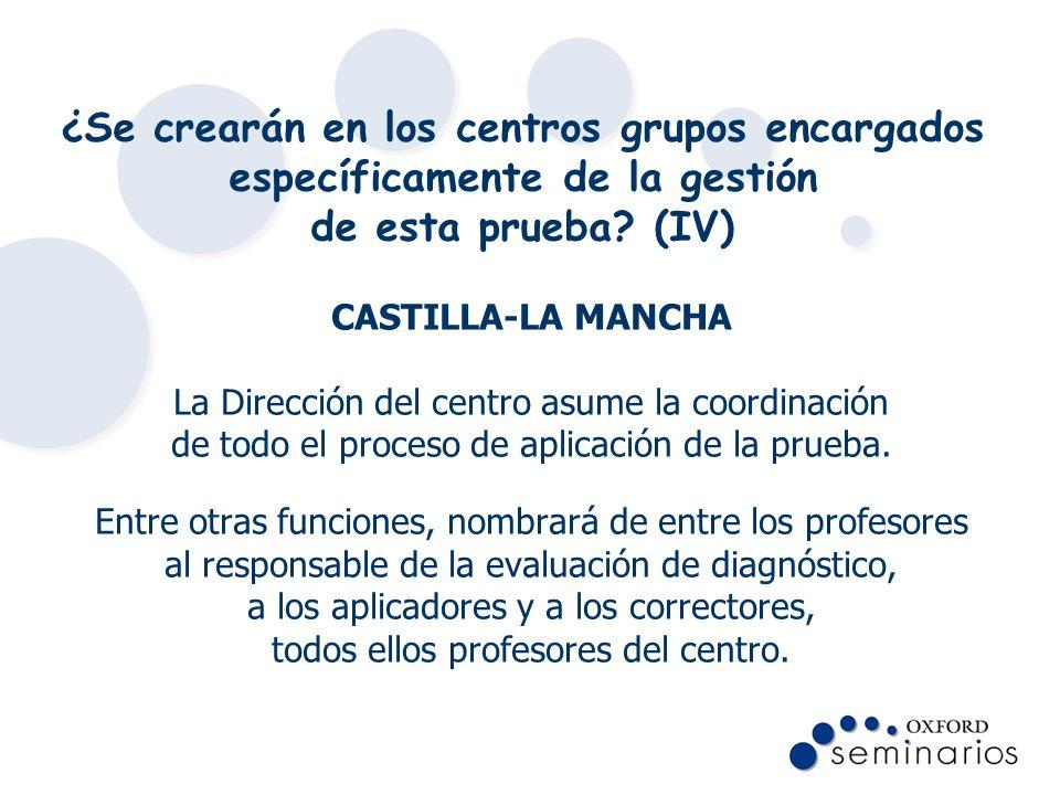 ¿Se crearán en los centros grupos encargados específicamente de la gestión de esta prueba? (IV) CASTILLA-LA MANCHA La Dirección del centro asume la co