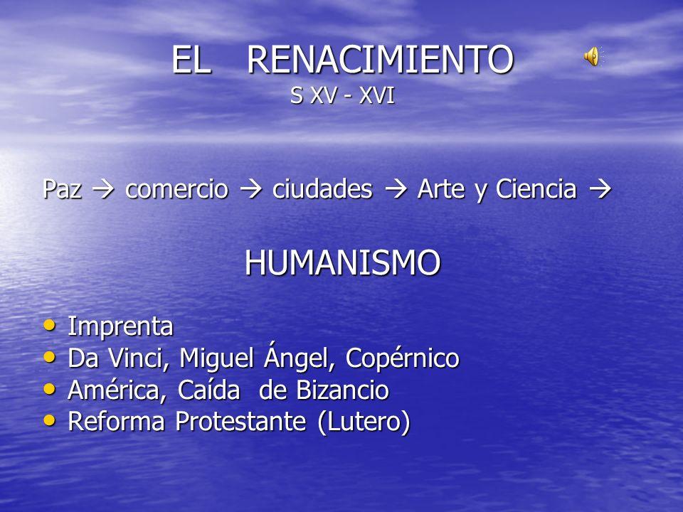 EL RENACIMIENTO S XV - XVI Paz comercio ciudades Arte y Ciencia Paz comercio ciudades Arte y Ciencia HUMANISMO Imprenta Imprenta Da Vinci, Miguel Ánge