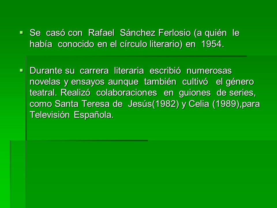 Se casó con Rafael Sánchez Ferlosio (a quién le había conocido en el círculo literario) en 1954. Se casó con Rafael Sánchez Ferlosio (a quién le había