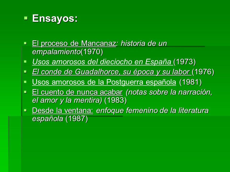Ensayos: Ensayos: El proceso de Mancanaz: historia de un empalamiento(1970) El proceso de Mancanaz: historia de un empalamiento(1970) (1973) Usos amor