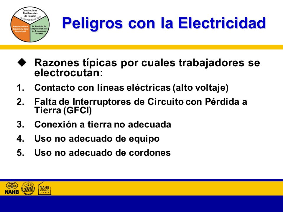 Peligros con la Electricidad Razones típicas por cuales trabajadores se electrocutan: 1.Contacto con líneas eléctricas (alto voltaje) 2.Falta de Interruptores de Circuito con Pérdida a Tierra (GFCI) 3.Conexión a tierra no adecuada 4.Uso no adecuado de equipo 5.Uso no adecuado de cordones