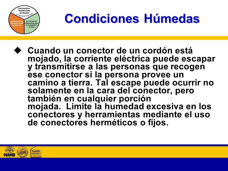 Condiciones Húmedas Cuando un conector de un cordón está mojado, la corriente eléctrica puede escapar y transmitirse a las personas que recogen ese conector si la persona provee un camino a tierra.