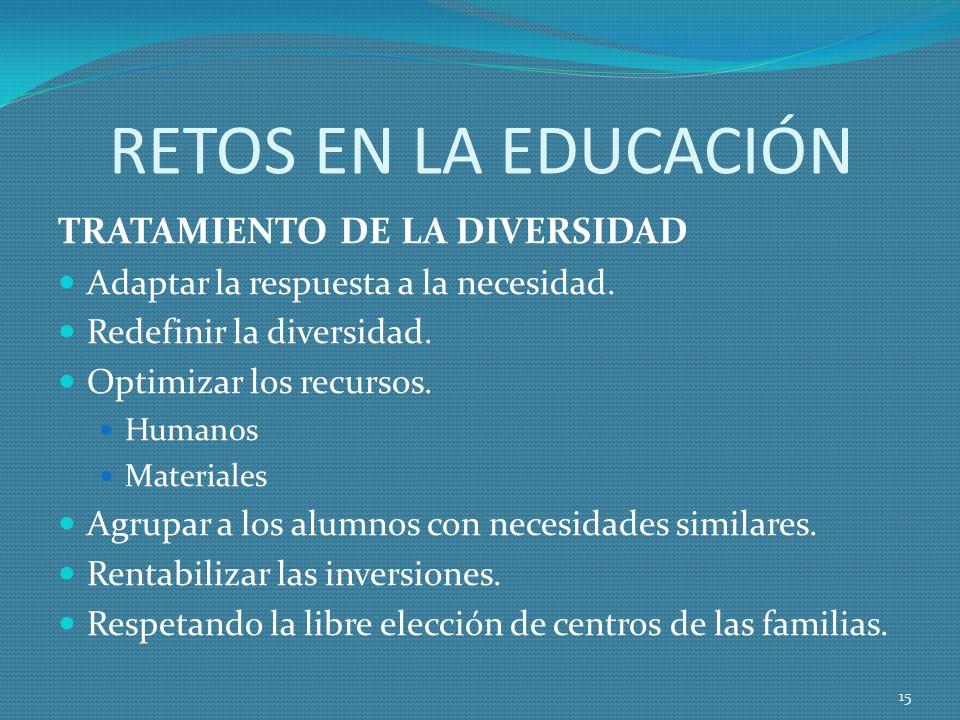 RETOS EN LA EDUCACIÓN TRATAMIENTO DE LA DIVERSIDAD Adaptar la respuesta a la necesidad.