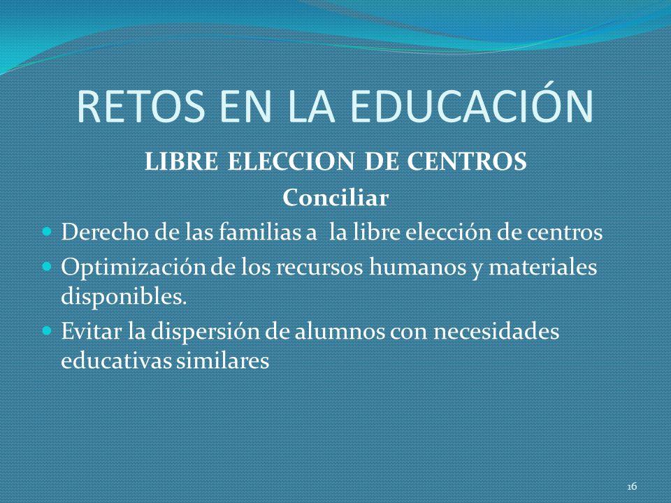 RETOS EN LA EDUCACIÓN LIBRE ELECCION DE CENTROS Conciliar Derecho de las familias a la libre elección de centros Optimización de los recursos humanos y materiales disponibles.