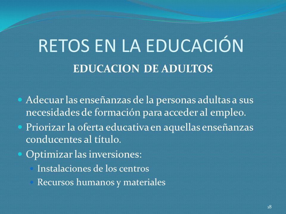 RETOS EN LA EDUCACIÓN EDUCACION DE ADULTOS Adecuar las enseñanzas de la personas adultas a sus necesidades de formación para acceder al empleo.