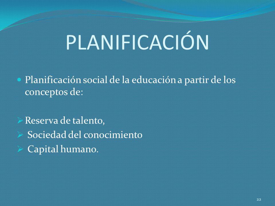 PLANIFICACIÓN Planificación social de la educación a partir de los conceptos de: Reserva de talento, Sociedad del conocimiento Capital humano.