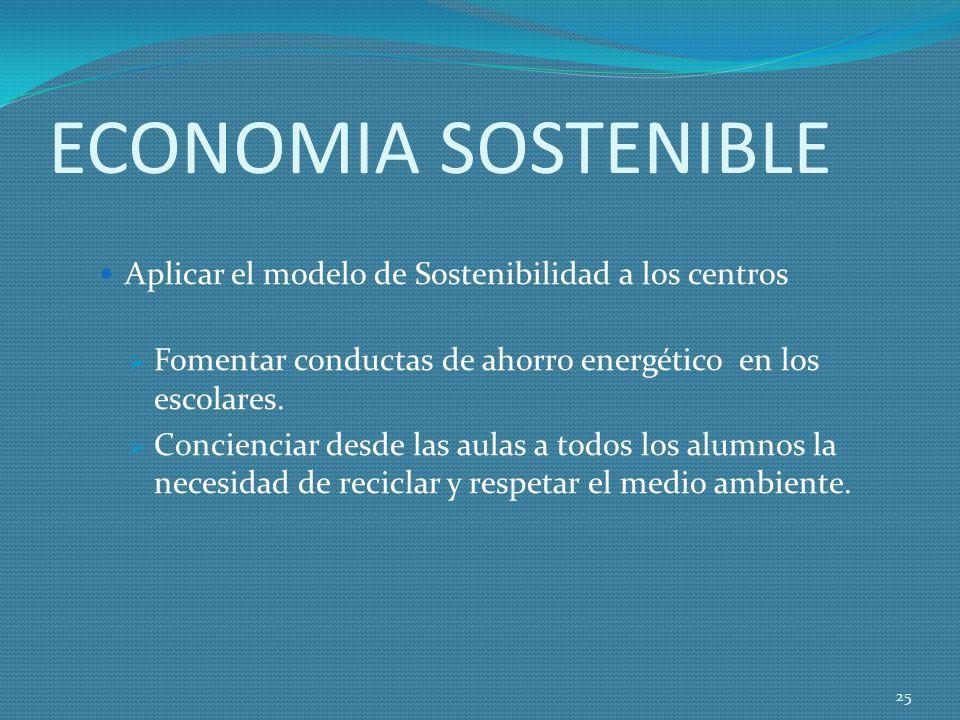 ECONOMIA SOSTENIBLE Aplicar el modelo de Sostenibilidad a los centros Fomentar conductas de ahorro energético en los escolares.