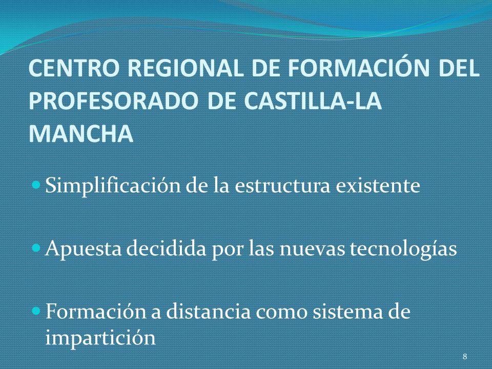 CENTRO REGIONAL DE FORMACIÓN DEL PROFESORADO DE CASTILLA-LA MANCHA Simplificación de la estructura existente Apuesta decidida por las nuevas tecnologías Formación a distancia como sistema de impartición 8
