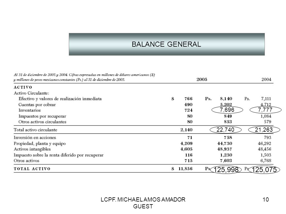 LCPF. MICHAEL AMOS AMADOR GUEST 10 BALANCE GENERAL 125,998125,075 7,6967,777 22,74021,263