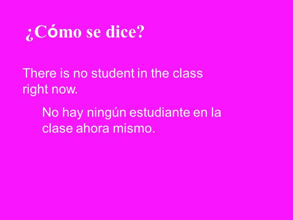 ¿C ó mo se dice? There is no student in the class right now. No hay ningún estudiante en la clase ahora mismo.