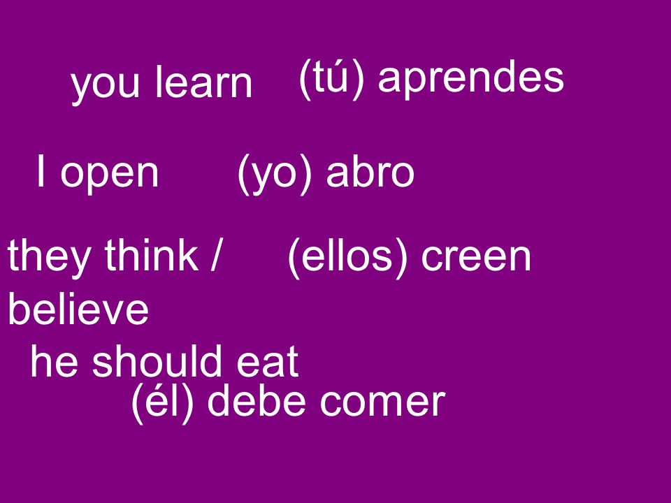 you learn (tú) aprendes I open(yo) abro they think / believe (ellos) creen he should eat (él) debe comer