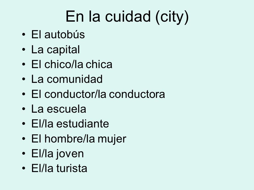 En la cuidad (city) El autobús La capital El chico/la chica La comunidad El conductor/la conductora La escuela El/la estudiante El hombre/la mujer El/