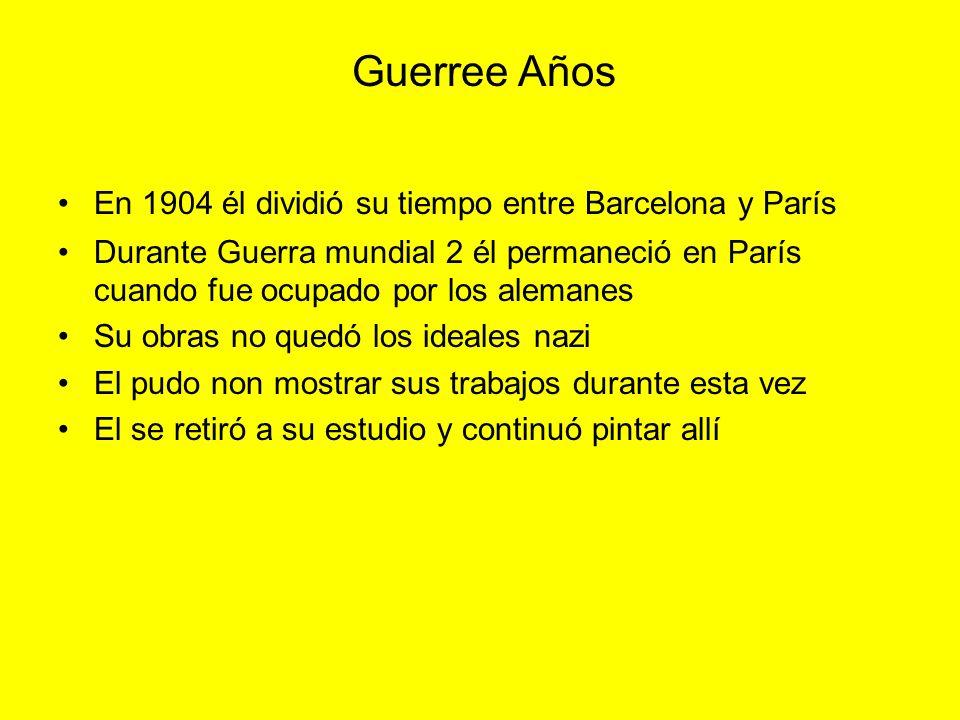 En 1904 él dividió su tiempo entre Barcelona y París Durante Guerra mundial 2 él permaneció en París cuando fue ocupado por los alemanes Su obras no q