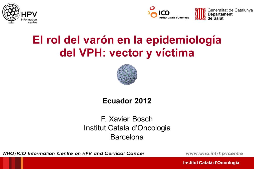 Institut Català dOncologia El papel central de la conducta sexual en ambos sexos La edad de iniciación sexual Cancer Epidemiology of Research Program