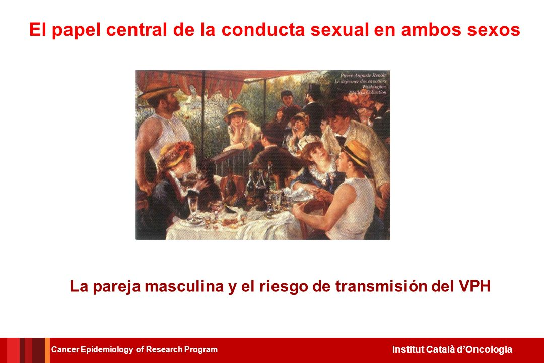 Institut Català dOncologia El papel central de la conducta sexual en ambos sexos La pareja masculina y el riesgo de transmisión del VPH Cancer Epidemiology of Research Program