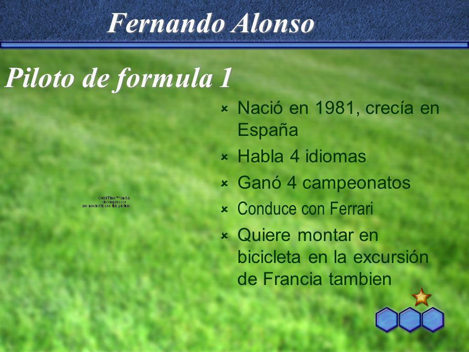 Fernando Alonso Nació en 1981, crecía en España Habla 4 idiomas Ganó 4 campeonatos Conduce con Ferrari Quiere montar en bicicleta en la excursión de F