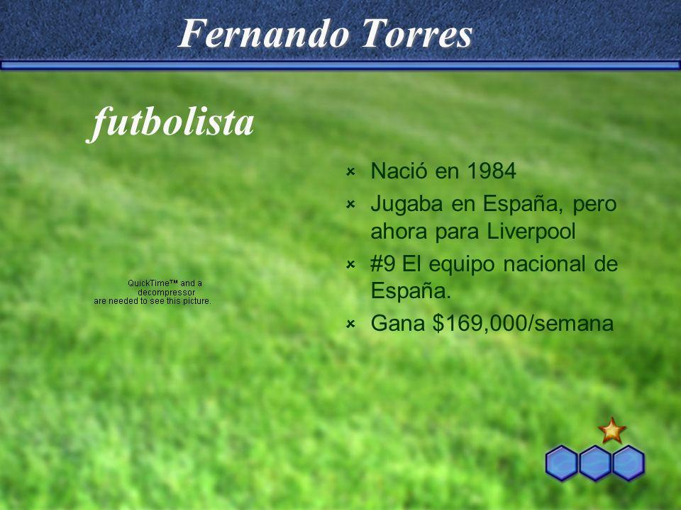 Fernando Torres Nació en 1984 Jugaba en España, pero ahora para Liverpool #9 El equipo nacional de España. Gana $169,000/semana futbolista