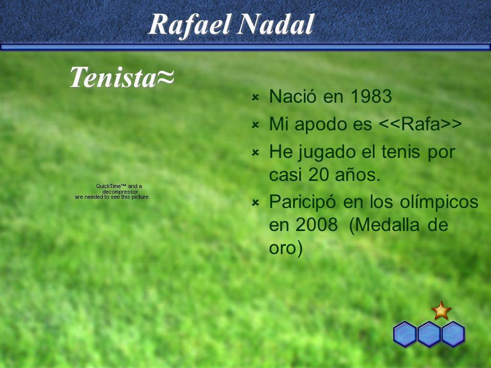 Rafael Nadal Nació en 1983 Mi apodo es > He jugado el tenis por casi 20 años. Paricipó en los olímpicos en 2008 (Medalla de oro) Tenista