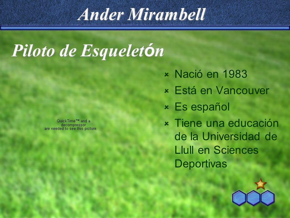Ander Mirambell Nació en 1983 Está en Vancouver Es español Tiene una educación de la Universidad de Llull en Sciences Deportivas Piloto de Esquelet ó