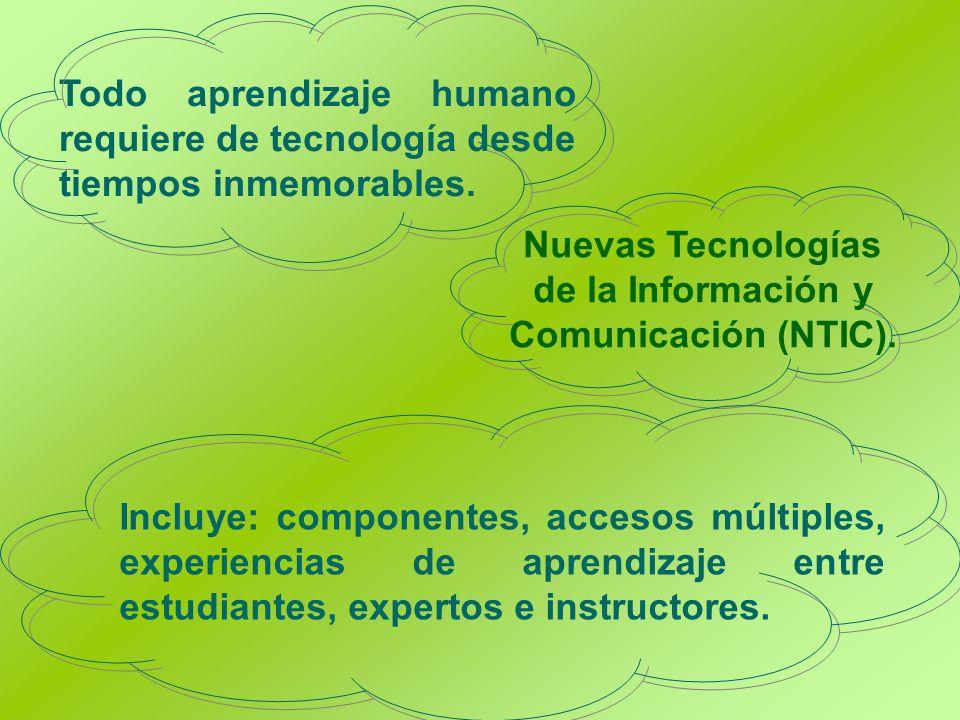 Todo aprendizaje humano requiere de tecnología desde tiempos inmemorables. Nuevas Tecnologías de la Información y Comunicación (NTIC). Incluye: compon