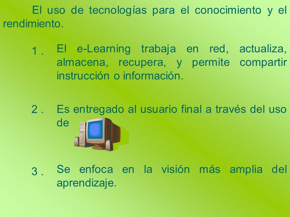 Se enfoca en la visión más amplia del aprendizaje. El uso de tecnologías para el conocimiento y el rendimiento. El e-Learning trabaja en red, actualiz
