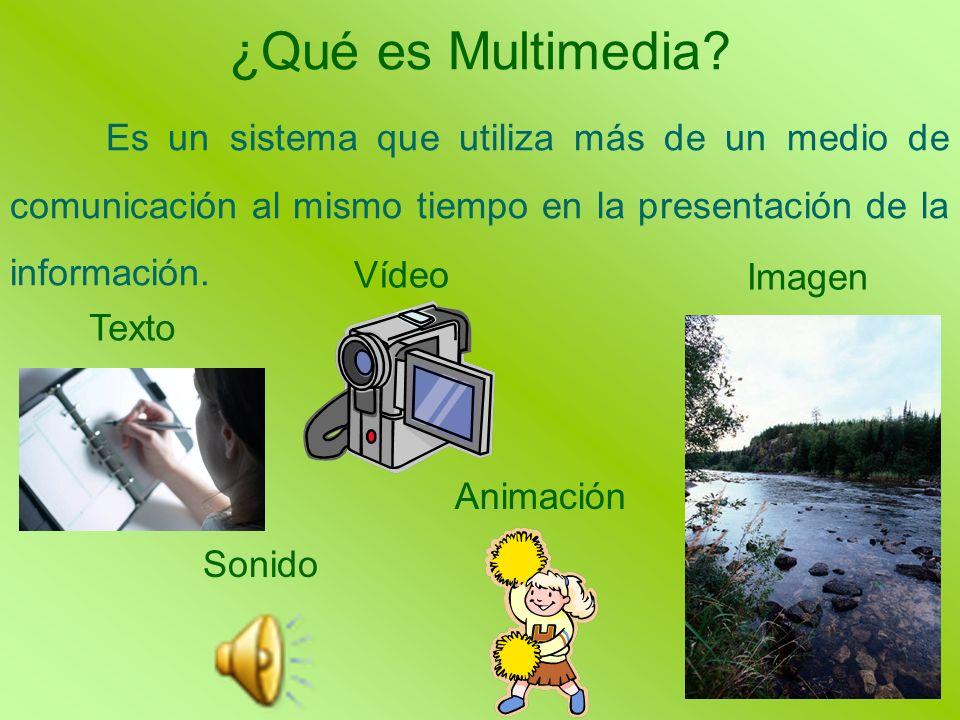 ¿Qué es Multimedia? Es un sistema que utiliza más de un medio de comunicación al mismo tiempo en la presentación de la información. Texto Imagen Anima