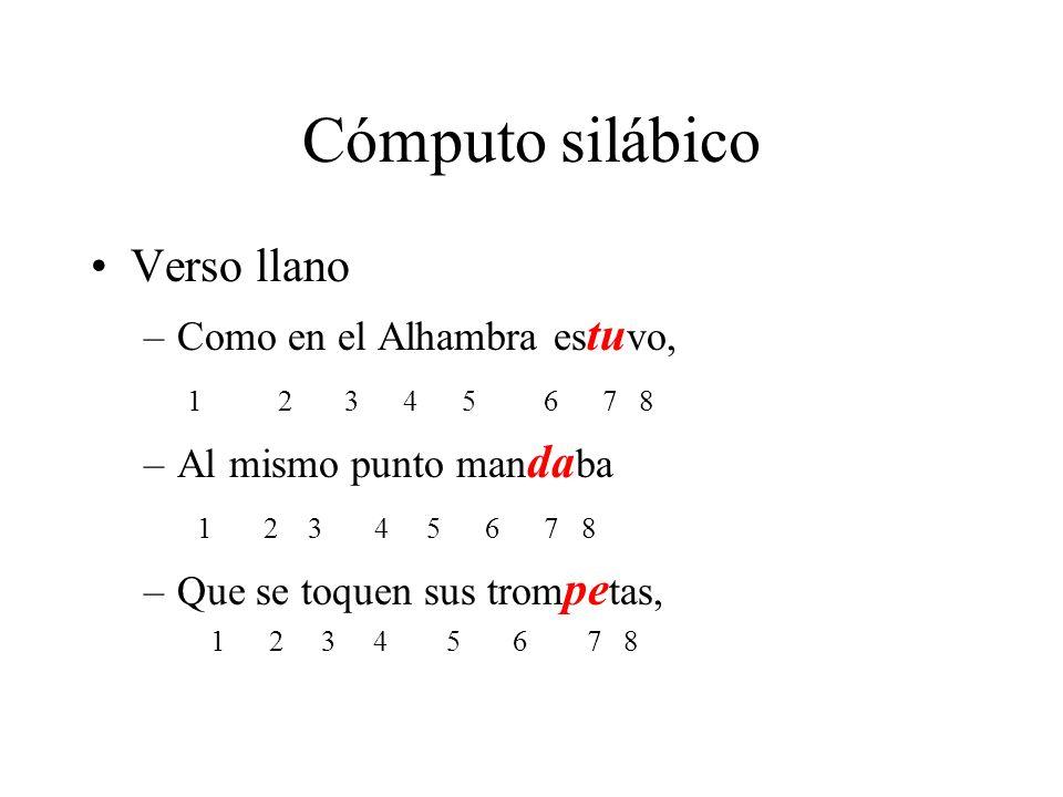 Cómputo silábico Verso llano –Como en el Alhambra es tu vo, 1 2 3 4 5 6 7 8 –Al mismo punto man da ba 1 2 3 4 5 6 7 8 –Que se toquen sus trom pe tas,