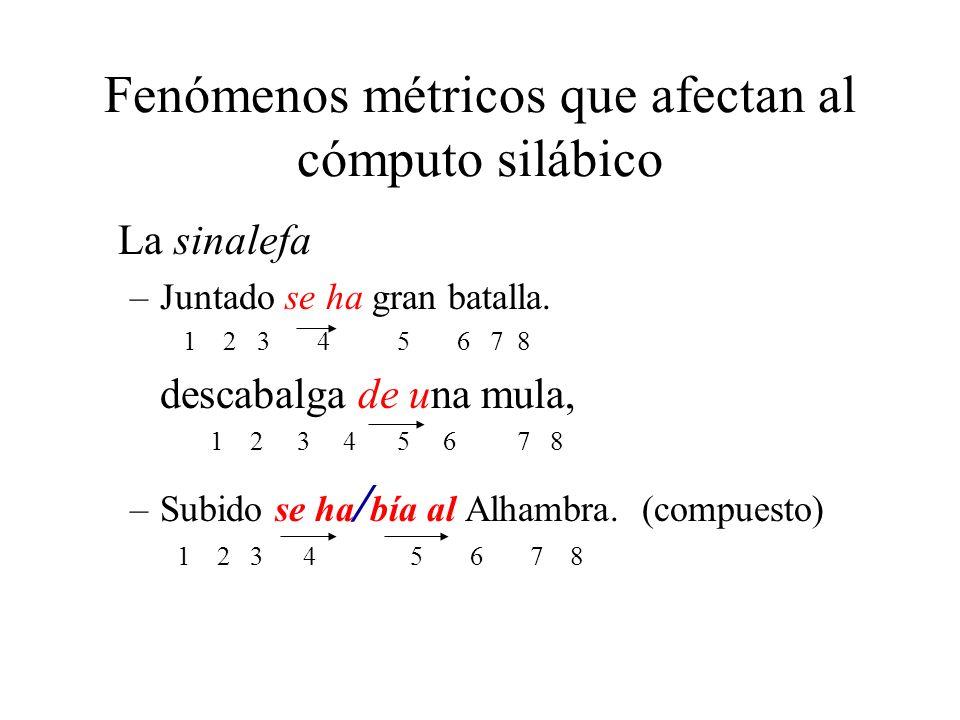 Fenómenos métricos que afectan al cómputo silábico La sinalefa –Juntado se ha gran batalla. 1 2 3 4 5 6 7 8 descabalga de una mula, 1 2 3 4 5 6 7 8 –S