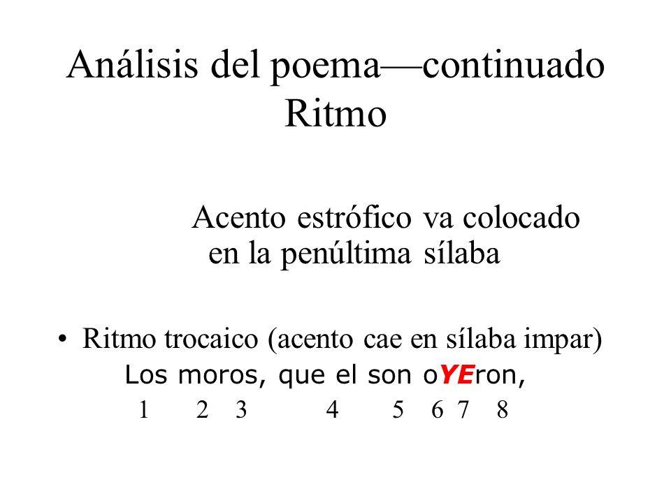 Análisis del poemacontinuado Ritmo Acento estrófico va colocado en la penúltima sílaba Ritmo trocaico (acento cae en sílaba impar) Los moros, que el s