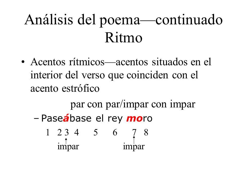 Análisis del poemacontinuado Ritmo Acentos rítmicosacentos situados en el interior del verso que coinciden con el acento estrófico par con par/impar c