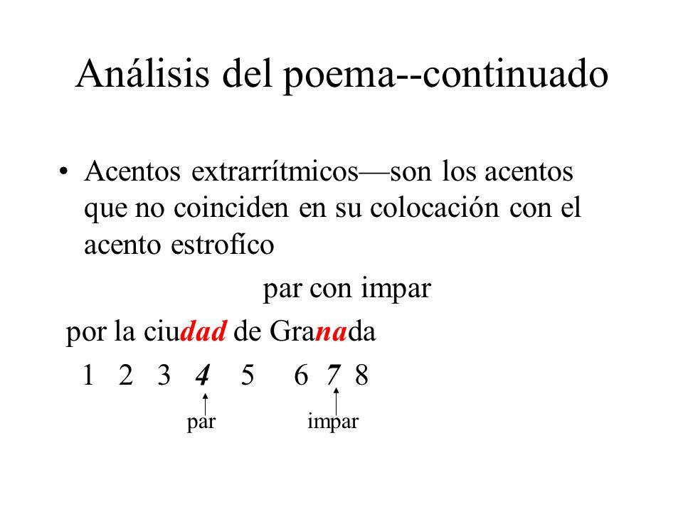 Análisis del poema--continuado Acentos extrarrítmicosson los acentos que no coinciden en su colocación con el acento estrofíco par con impar por la ci