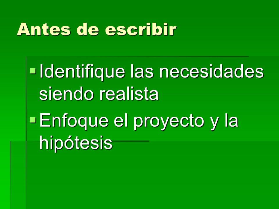 Antes de escribir Identifique las necesidades siendo realista Identifique las necesidades siendo realista Enfoque el proyecto y la hipótesis Enfoque el proyecto y la hipótesis