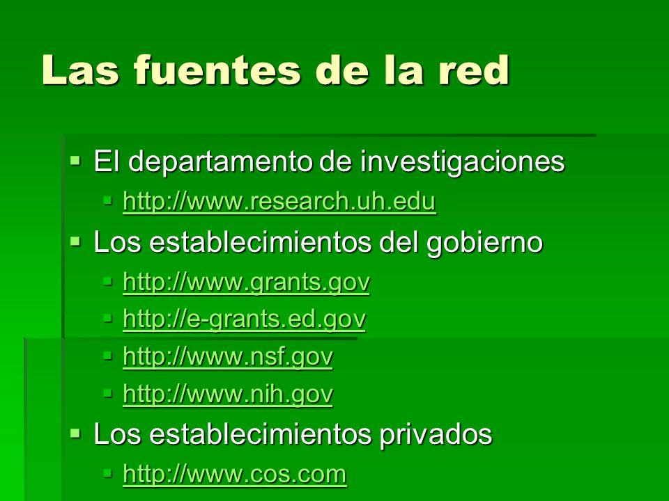 Las fuentes de la red El departamento de investigaciones El departamento de investigaciones http://www.research.uh.edu http://www.research.uh.edu http://www.research.uh.edu Los establecimientos del gobierno Los establecimientos del gobierno http://www.grants.gov http://www.grants.gov http://www.grants.gov http://e-grants.ed.gov http://e-grants.ed.gov http://e-grants.ed.gov http://www.nsf.gov http://www.nsf.gov http://www.nsf.gov http://www.nih.gov http://www.nih.gov http://www.nih.gov Los establecimientos privados Los establecimientos privados http://www.cos.com http://www.cos.com http://www.cos.com