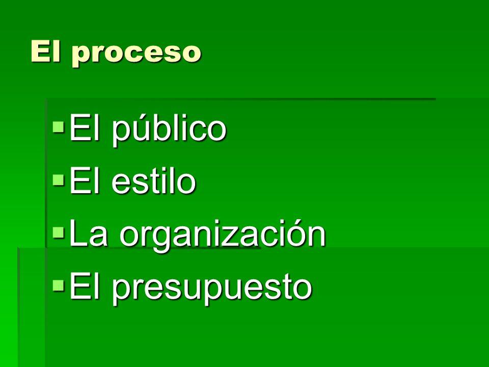 El proceso El público El público El estilo El estilo La organización La organización El presupuesto El presupuesto