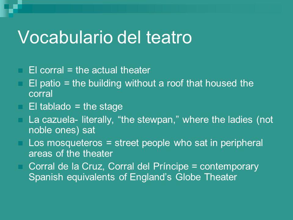 Vocabulario del teatro El corral = the actual theater El patio = the building without a roof that housed the corral El tablado = the stage La cazuela-