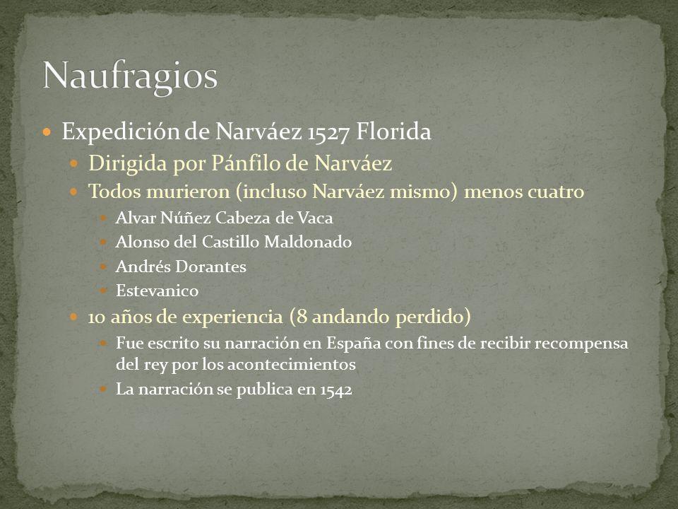 Expedición de Narváez 1527 Florida Dirigida por Pánfilo de Narváez Todos murieron (incluso Narváez mismo) menos cuatro Alvar Núñez Cabeza de Vaca Alon