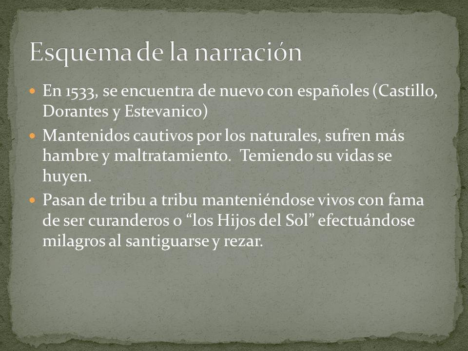 En 1533, se encuentra de nuevo con españoles (Castillo, Dorantes y Estevanico) Mantenidos cautivos por los naturales, sufren más hambre y maltratamien