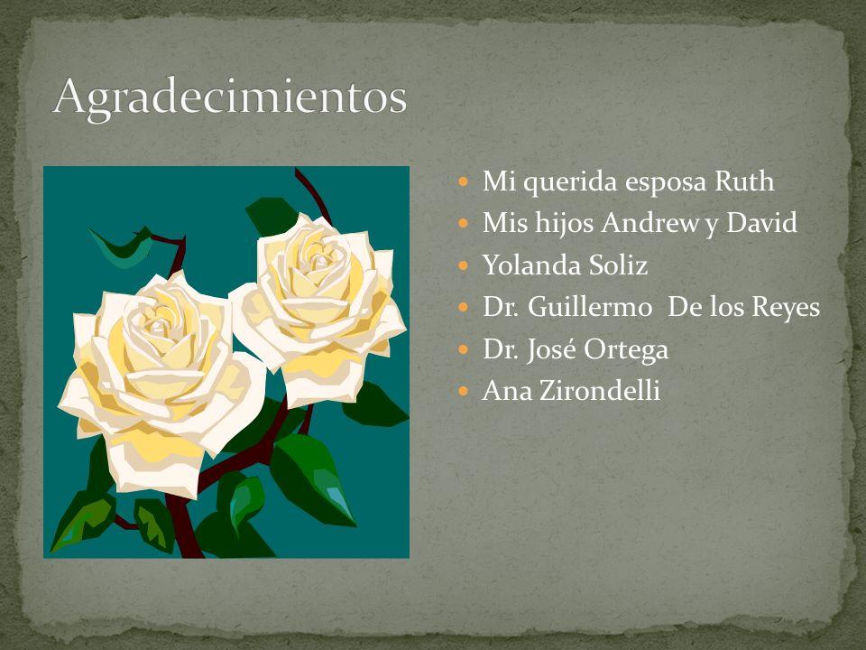 Mi querida esposa Ruth Mis hijos Andrew y David Yolanda Soliz Dr. Guillermo De los Reyes Dr. José Ortega Ana Zirondelli