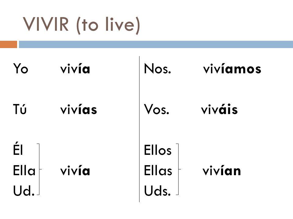 VIVIR (to live) Yo vivía Tú vivías Él Ella vivía Ud.