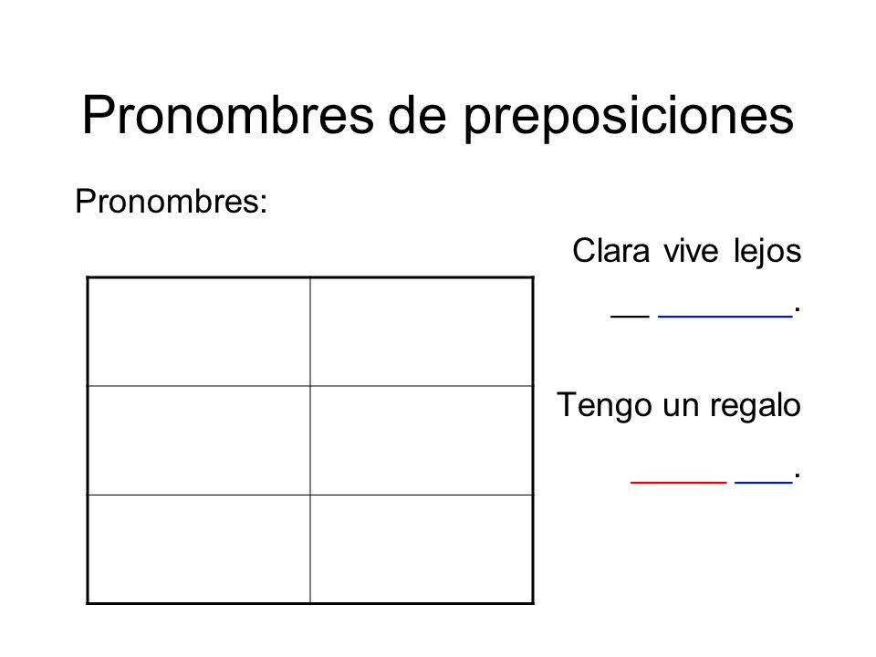 Pronombres de preposiciones Pronombres: Clara vive lejos __ _______. Tengo un regalo _____ ___.