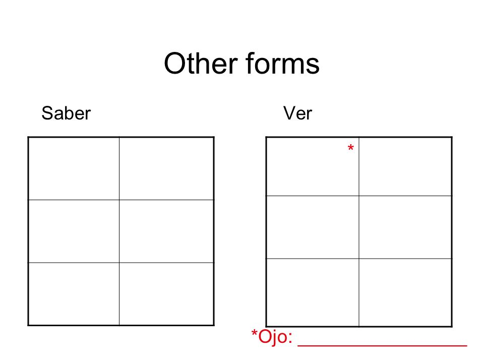 Other forms SaberVer *Ojo: ________________ *