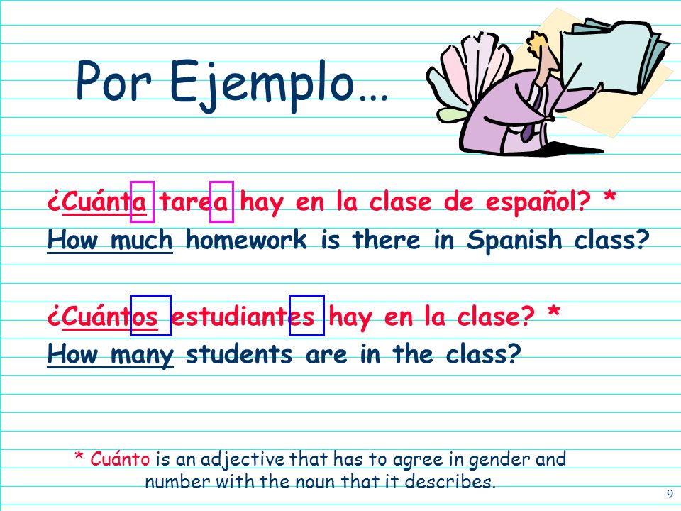 8 Por Ejemplo… ¿Qué or Cuál? Both mean what, but cuál is also which Qué can be followed directly by a noun, but cuál cannot. ¿Qué día es hoy? What/Whi
