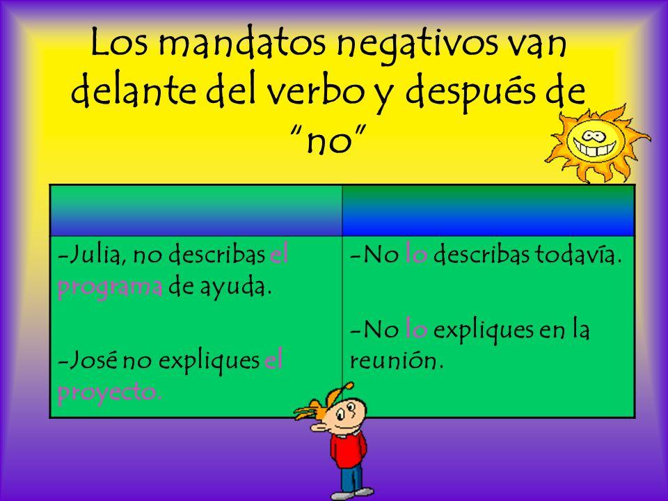 Los mandatos negativos van delante del verbo y después de no -Julia, no describas el programa de ayuda. -José no expliques el proyecto. -No lo describ