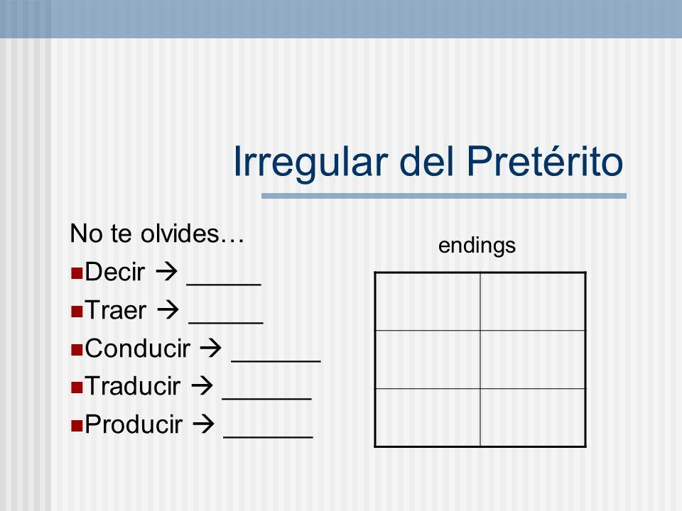 Irregular del Pretérito No te olvides… Decir _____ Traer _____ Conducir ______ Traducir ______ Producir ______ endings
