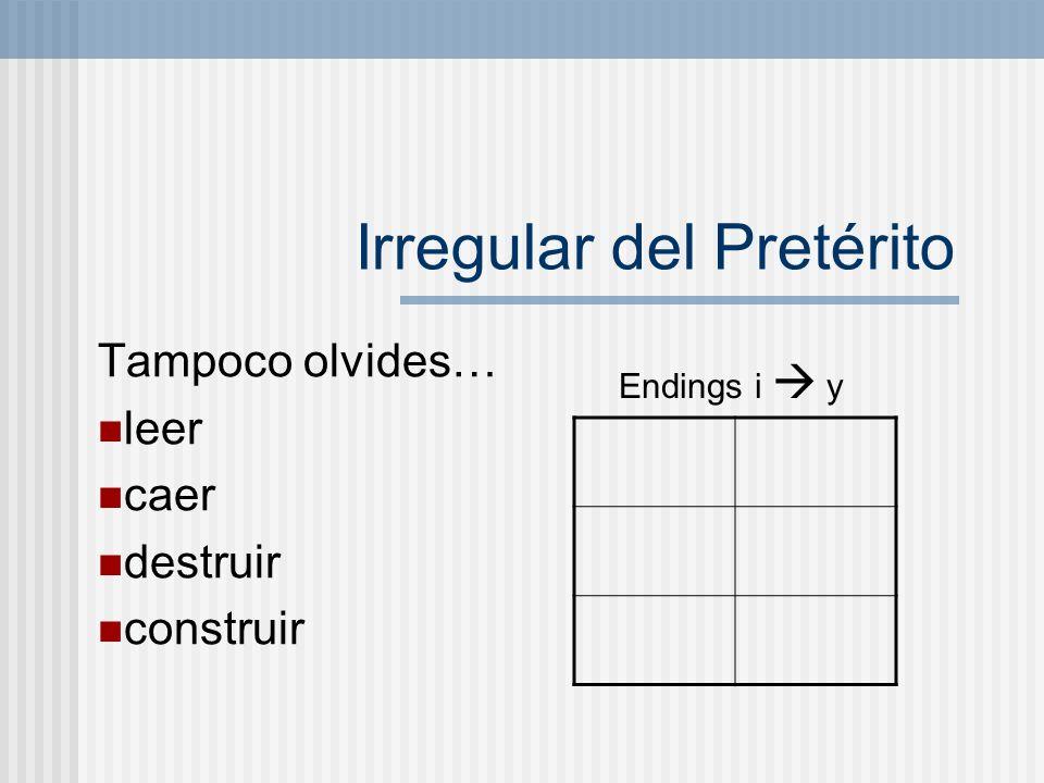 Mandatos irregulares de tú hacer _____ tener _____ poner _____ salir _____ venir _____ ser _____ decir _____ ir _____ *notice that all irregular tú comands are one syllable.