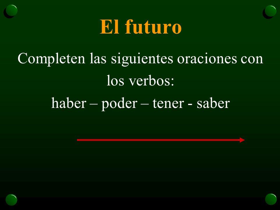 El futuro o El futuro se usa también con si + el verbo en presente: ¿Si viajas al espacio, tendrás que comer comida especial?